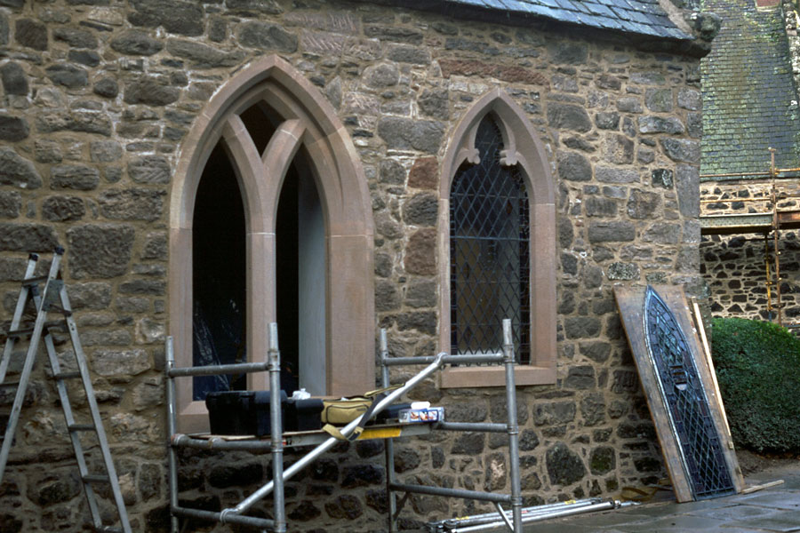 Stobhall Castle - 19th century windows - during installation